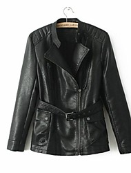 Leather Coat Women's Long Sleeve  Collarless PU Coat