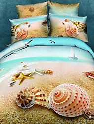 Duvet Cover Set,Home Textile Delux Home Decor 100% Cotton 3D Printed Bedding Set with Shell Pattern