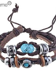 Vintage Amber Beads Leather Bracelet