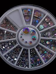 300pcs 1.5mm-6.0mm смешать размеры аб акриловая сверла ногтя DIY колесо горный хрусталь украшения ногтей искусство