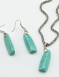 Toonykelly Vintage Look Turquoise Stone(Earring and Necklace) Jewelry Set