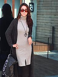 Samantha Women's New Korean Slim Turtle Neck Long Sleeve OL Bottoming Dress
