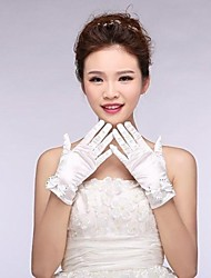 Elastic Satin Fingertips Wrist Length Wedding Gloves with Bow with Crystal ASG19