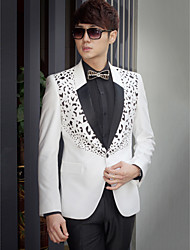 Black&White Solid Slim Fit Tuxedo In Polyester