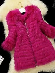 Fur Coats Women's Long White Raccoon Fur In Spoke Diamond Fur Coat(More Color)