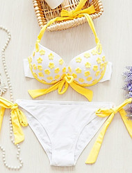 Women's Sexy Yellow Applique Patten Halter-tops  Push Up Bikini