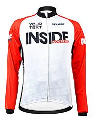 kooplus unisex personalizado otoño primavera ciclismo de poliéster de manga larga camiseta - rojo + blanco