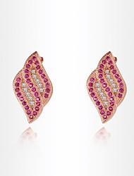 women'sroxi délicate rose boucles d'oreilles d'or le meilleur cadeau pour une boucle d'oreille petite amie blanche zircon goujon (1 paire)
