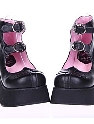 PU de 8 cm de cuero zapatos del lolita punky plataforma negro