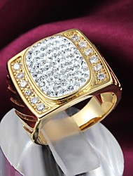 Fashion Oval Zircon Shape Golden Statement Ring (1 pc)