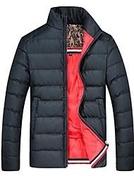 JSM  Men's Stand Collar Bodycon Solid Color Overcoat