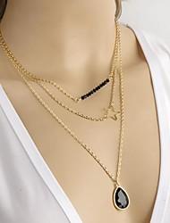Collares con colgantes Zafiro Cristal Negro Gema Gema Legierung Forma de Estrella Moda Joyas Diario Casual