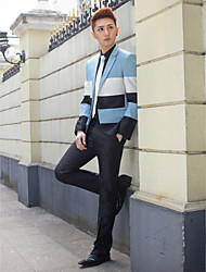 Black&Light Blue&White Stripes Slim Fit Tuxedo In Polyester