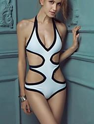 de las mujeres de la moda sexy hueco de una sola pieza del traje de baño bikini traje de baño traje de baño blanco y negro de división
