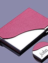 gepersonaliseerde rood leer en roestvrij staal card case