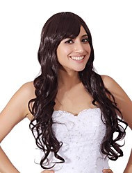 Capless Mix Color Extra Long High Quality Natural Curly Hair Synthetic Wig with Side Bang