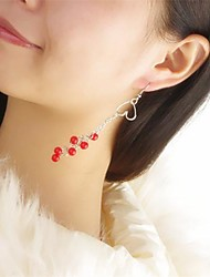 женские милые персик сердца красный перец кисточка серьги (1 пара)