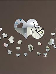 """20 """"h modern love hearts Hochzeitsdekoration 3d diy Acrylspiegel Wanduhr"""