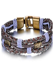 Fashion Men's Rock And Roll Style Black Alloy Leather Bracelet(1 Pc)