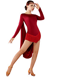 Robes(Noire / Rouge / Bleu Royal / Bordeaux,Satin stretch,Danse latine)Danse latine- pourFemme Danse latine