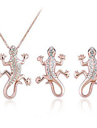 Women's Europe and the United States exaggerated personality gecko stud earrings suit + necklace (1 set)