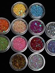 12pcs Farben Star Glitter Scheibe winzige Nagelkunstdekoration