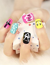12 Pcs  Color the Stars Design Nail Art Tips With Glue