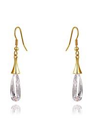 de façon claire goutte forme cristal de zircon or alliage baisse boucle d'oreille des femmes (1 paire)