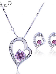 Lureme®Heart Shape Earrings And Necklace Jewelry Set(Assorted Color)