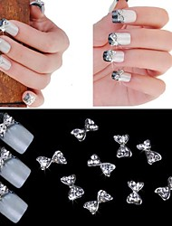 10шт 3d 3d сплав наклейки на ногти маникюр инкрустированные алмазами Super Flash лук ногтей искусство украшения