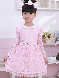Girl's Doll Collar Long Sleeved Princess Dress