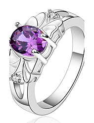 Fashion Oval Shape Silver Plated Copper Foreign Trade Zircon Ring(Purple)(1Pc)