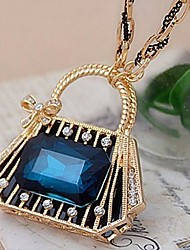 Women's Blue Crystal Upscale Purse Happiness Long Sweater Chain