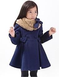 Girl's Fashion Fur Collar Winter Woolen Coat
