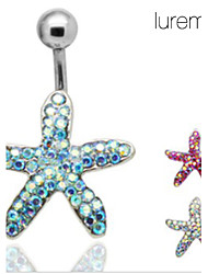 Lureme®Silver Plated Stainless Steel Rhinestones Starfish Navel/Ear Piercing(Random Color)