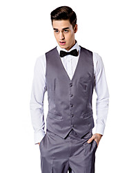Dark Gray Solid Tailored Fit Vest In Polyester