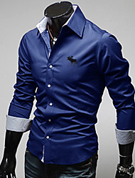 GZZG Men's Casual Square Long Sleeve Casual Shirts (Organic Cotton)
