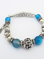 Women's Fashion Cornelian Agate Beads Fish Shape Stretchy Floral Charm Bracelets
