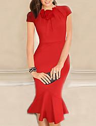 moda bodycon cor sólida elegante vestido de monta mulheres