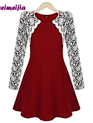 Women's Red/Black Dress , Casual/Lace Long Sleeve