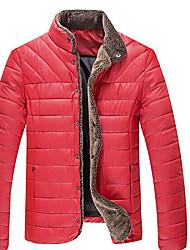 Wans мужская сплошной цвет стоять шеи длинный рукав пальто хлопка
