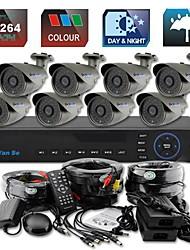 yanse® 8ch d1 cctv dvr kit ir kleuren waterdichte camera beveiligingscamera's systeem van 36-onder leiding 715cc08