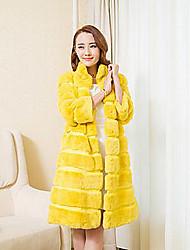 Fur Coat 3/4 Sleeve Collarless Rex Rabbit Fur Special Occasion/Casual Fur Coat(More Colors)