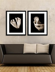 Framed Art Print, People Sepia Baby Feet by Tanya Hovey Set of 2