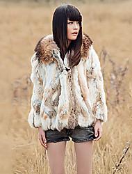 Fur Coat Long Sleeve Collarless Rex Rabbit Fur&Raccoon Fur Special Occasion/Casual Fur Coat(More Colors)