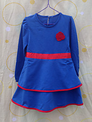 Girl's Solid Dress,Cotton Spring / Fall Blue / Red