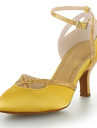 Non Customizable Women's Dance Shoes Modern Satin/Sparkling Glitter Flared Heel Red/Silver/Gold