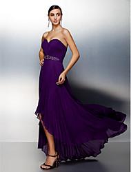TS Couture Formal Evening Dress - Grape Plus Sizes / Petite A-line Sweetheart Asymmetrical Chiffon