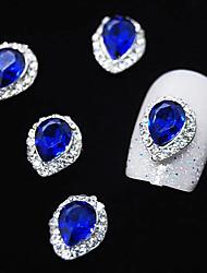 Cristal de safira 10pcs com linha de strass liga gota de água pontas do dedo da arte do prego decoração