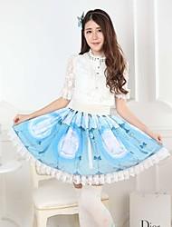 Saia Doce Princesa Cosplay Vestidos Lolita Azul Patchwork / Estampado Lolita Comprimento Médio Saia Para Feminino Poliéster